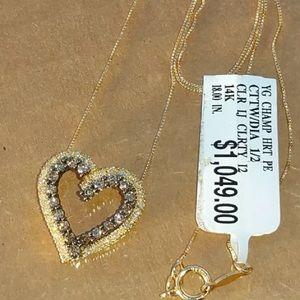 Jewelry - 0.50 carat 14k yellow gold diamond heart necklace
